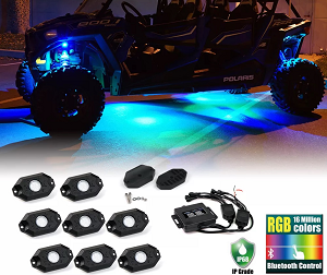 8PC RGB LED Multi-Color Offroad Rock Lights Wireless Bluetooth Truck Jeep